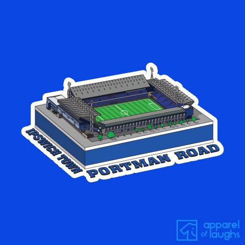 Ipswich Town Portman Road Football Stadium Illustration T Shirt Design Royal Blue