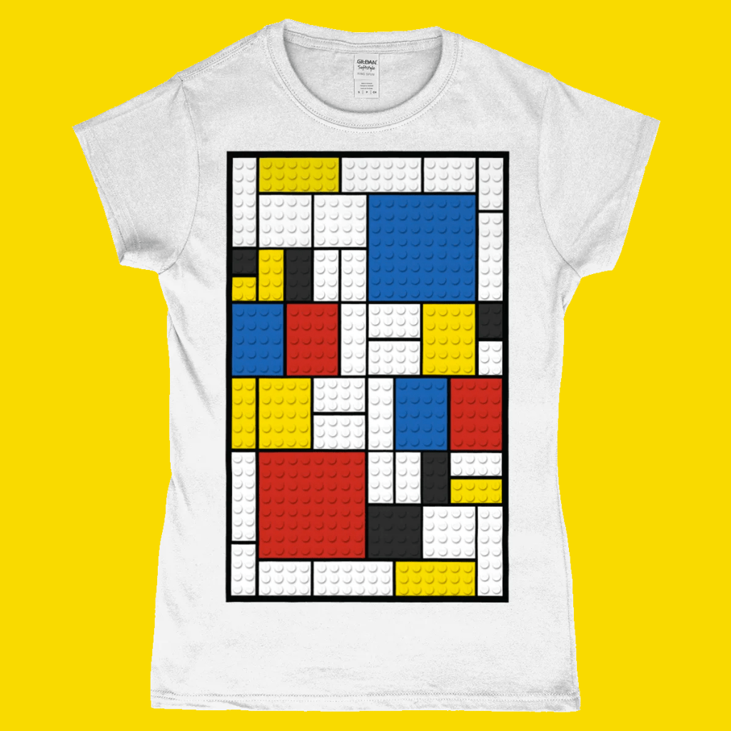 Lego Brick Mondrian Art Painting Women's T-Shirt White