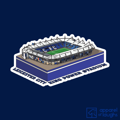 Leicester City King Power Stadium Football Illustration T Shirt Design Royal Blue