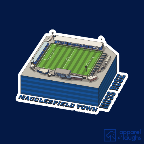 Macclesfield Town Moss Rose Football Stadium Illustration T Shirt Design Navy