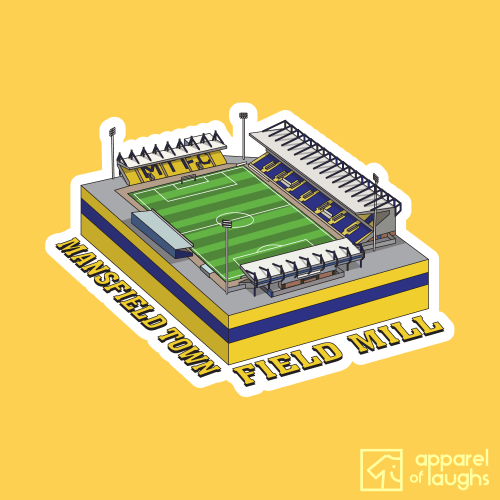 Mansfield Town Field Mill Football Stadium Illustration T Shirt Design Daisy