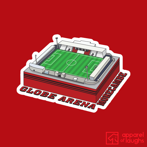 Morecambe Globe Arena Football Stadium Illustration T Shirt Design Red