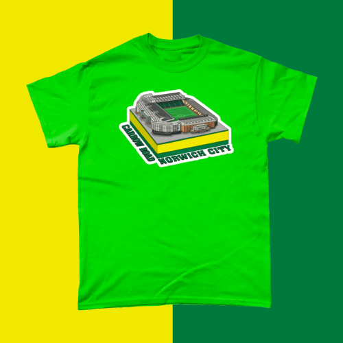 Norwich City Carrow Road Football Stadium Illustration Men's T-Shirt Green