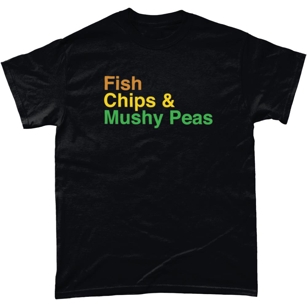 Fish Chips and Mushy Peas British Food Menu Men's T-Shirt Black