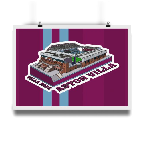 Aston Villa Villa Park Hallowed Turf Football Stadium Illustration Print