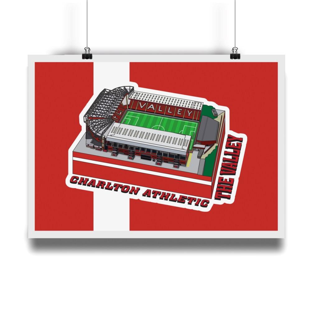 Charlton Athletic The Valley Hallowed Turf Football Stadium Illustration Print