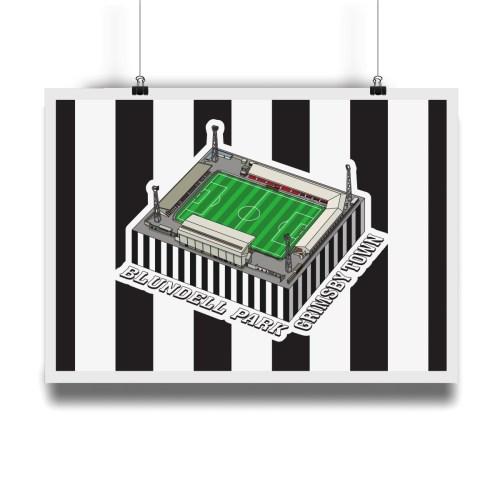 Grimsby Town Blundell Park Hallowed Turf Football Stadium Illustration Print