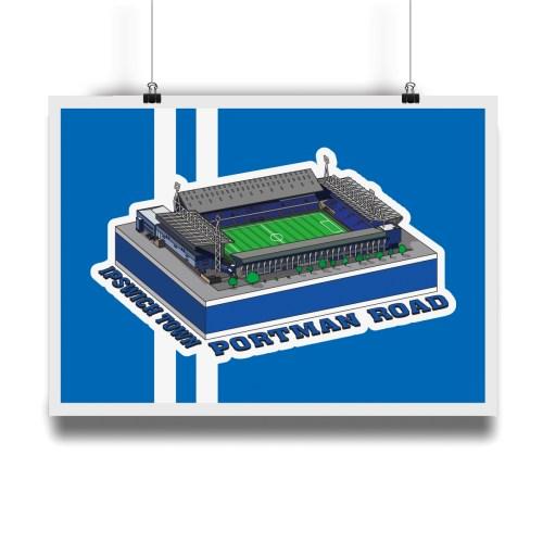 Ipswich Town Portman Road Hallowed Turf Football Stadium Illustration Print