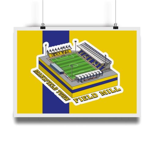 Mansfield Town Field Mill Hallowed Turf Football Stadium Illustration Print