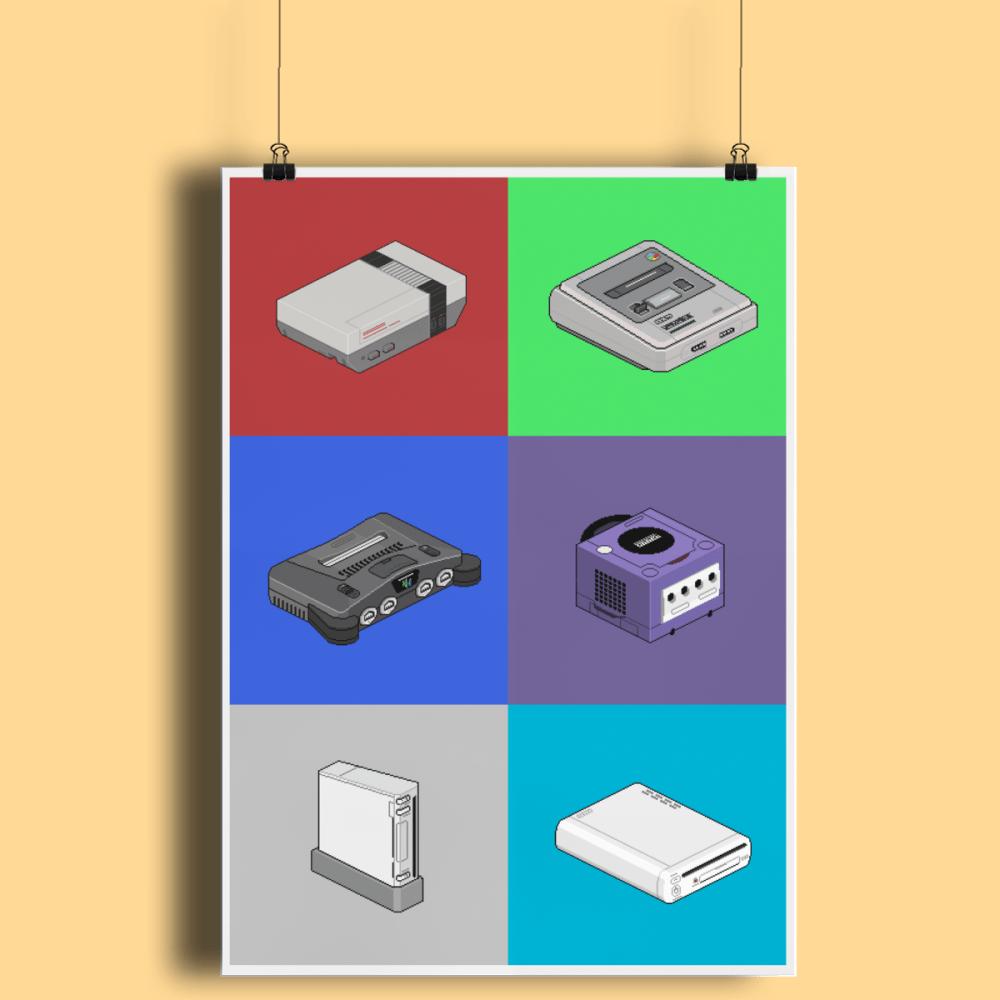 Pixel Art Game Consoles Nintendo 64 Wii U NES SNES Gamecube Fine Art Print A2