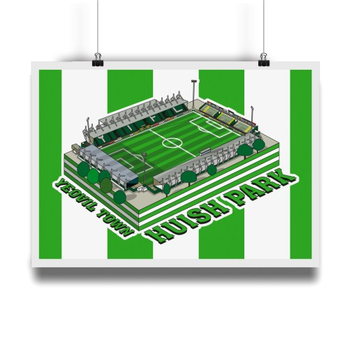 Yeovil Town Huish Park Hallowed Turf Football Stadium Illustration Print