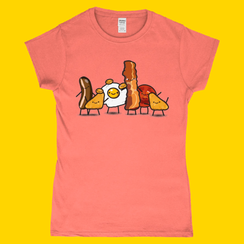 Full English Breakfast Cute British Food Women's T-Shirt Design Heather Orange