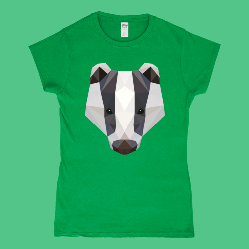 Low Poly Badger Women's T-Shirt British Wildlife Irish Green