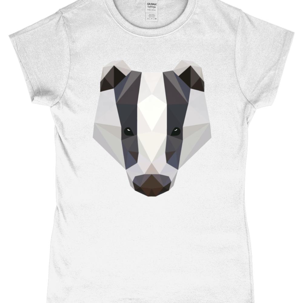 low Poly Badger British Wildlife Women's T-Shirt White