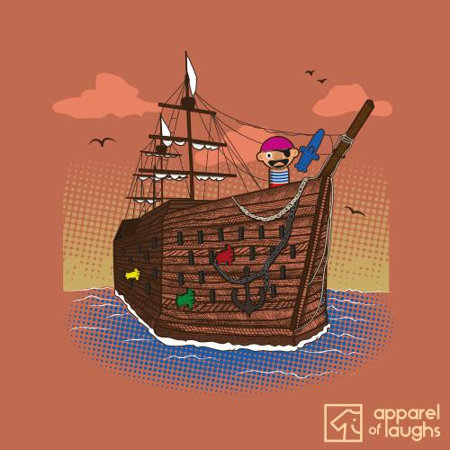Pop Up Pirate Ship Game Men's T-Shirt Design Sunset