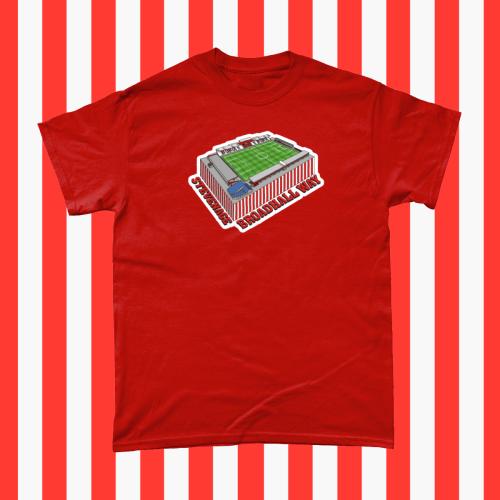 Stevenage Broadhall Way Football Stadium Illustration Men's T-Shirt Red