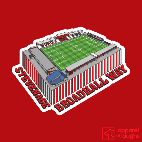 Stevenage Broadhall Way Football Stadium Illustration T-Shirt Design Red