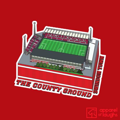Swindon Town The County Ground Football Stadium Illustration T-Shirt Design Red