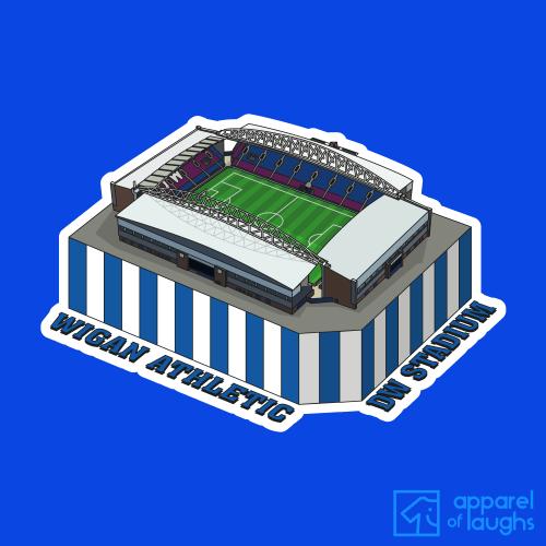 Wigan Athletic DW Stadium Football Stadium Illustration T-Shirt Design Royal Blue