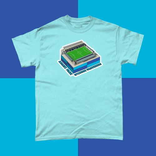 Wycombe Wanderers Adams Park Football Stadium Illustration Men's T-Shirt Light Blue