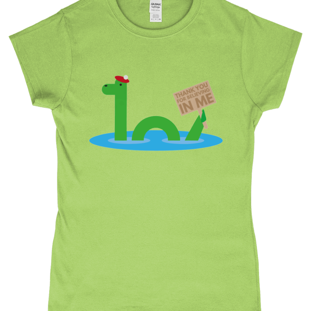 Nessie Loch Ness Monster Thanks For Believing Scotland Women's T-Shirt Design Kiwi