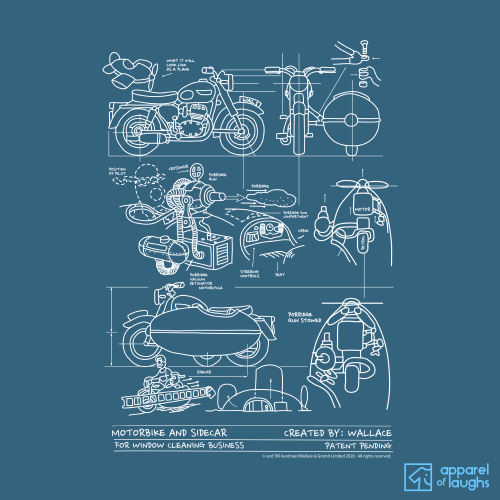 Wallace and Gromit Close Shave Bike Blueprint Men's T-Shirt Design Indigo