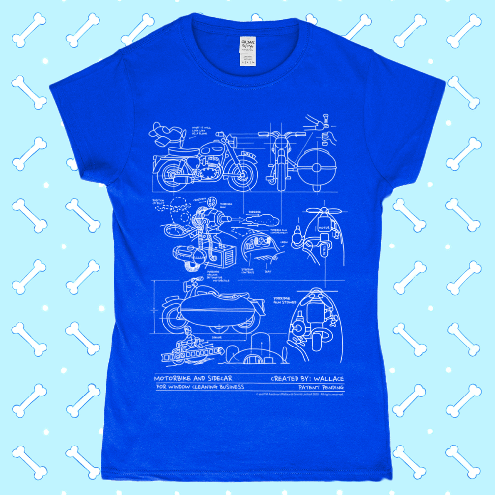 Wallace and Gromit Close Shave Bike Blueprint Women's T-Shirt Royal Blue