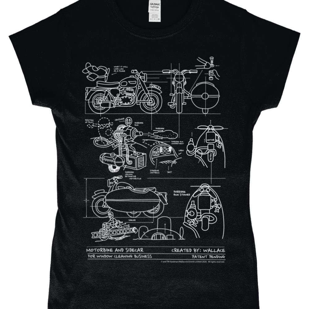 Wallace and Gromit Close Shave Bike Blueprint Women's T-Shirt Black