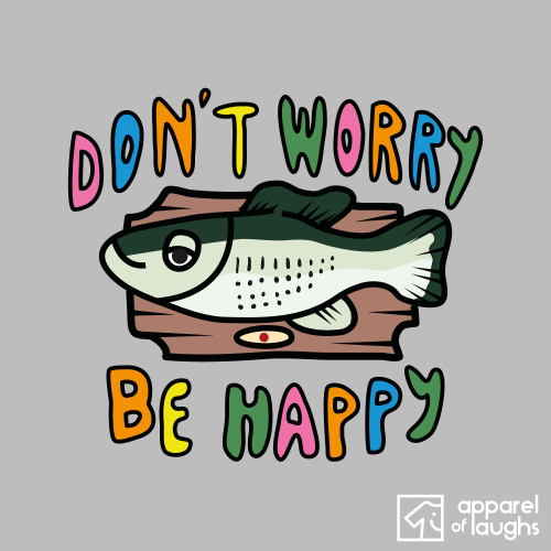 Big Mouth Billy Bass Don't Worry Be Happy Bobby McFerrin Men's T-Shirt Design Sports Grey