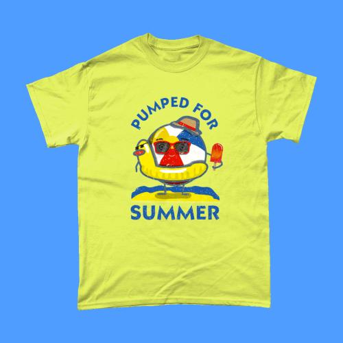 Pumped for Summer T-Shirt British beach ball Men's Cornsilk