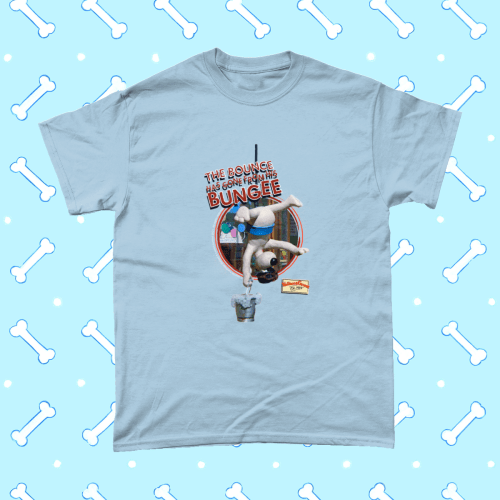 Wallace and Gromit T-Shirt Bounce Has Gone From His Bungee A Close Shave Men's Light Blue
