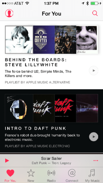 Apple Music curates songs and albums it thinks you will like.