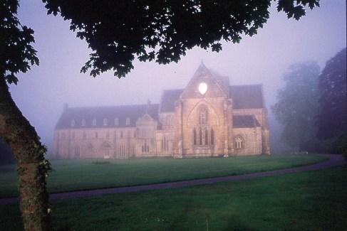 Pluscarden Abbey in early morning mist