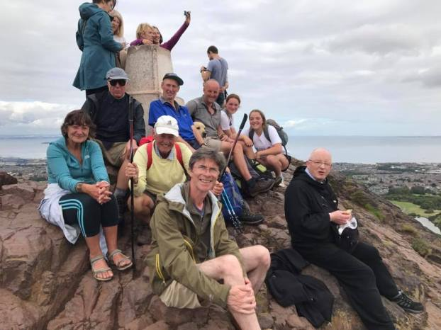 Pilgrimage arrives at the top of Arthur's Seat in Edinburgh