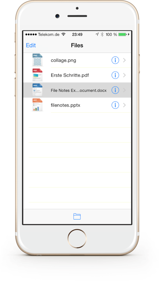 Find your imported files in the app's file list