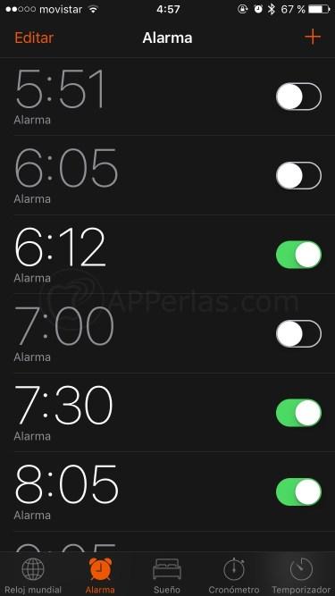 Alarmar del iPhone