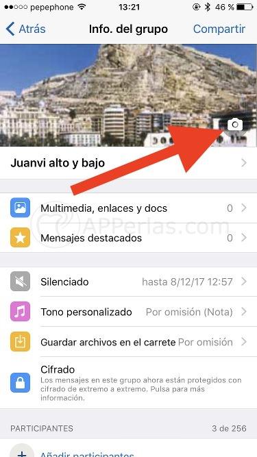 Cambiar la foto de perfil en grupos de Whatsapp