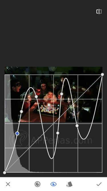 Curva para aclarar foto oscura