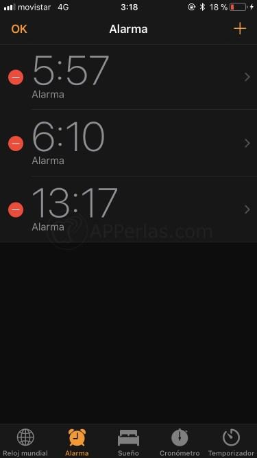 Edita alarmas creadas