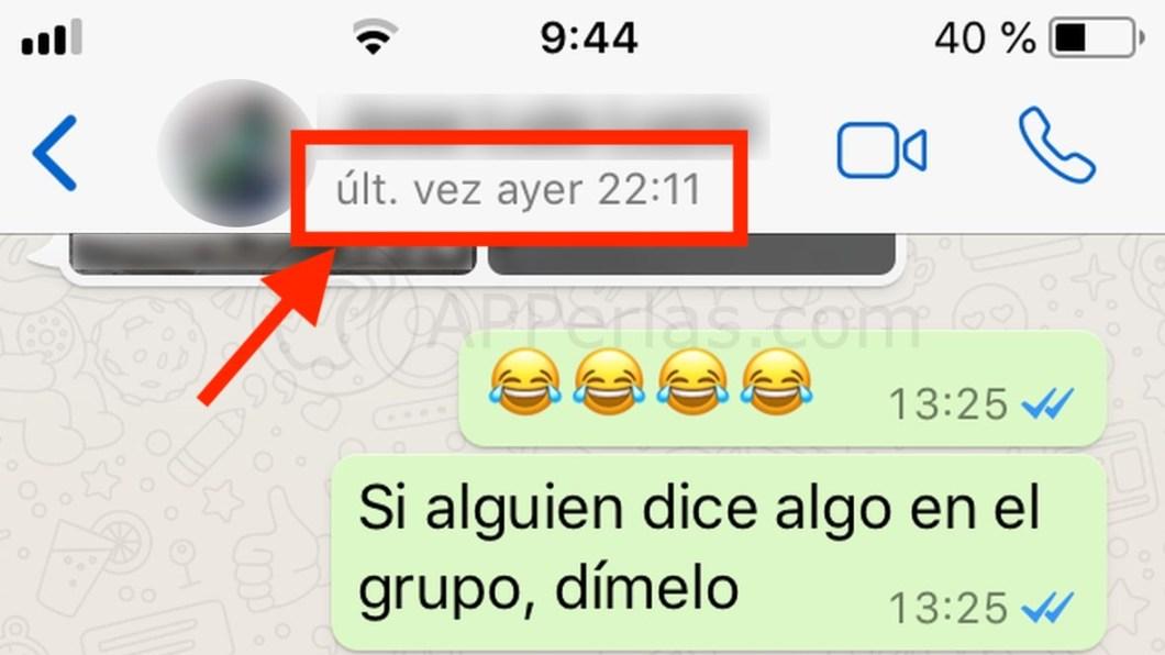 Última conexión en WhatsApp