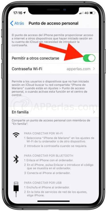 Permite a otros conectarse a tus datos móviles