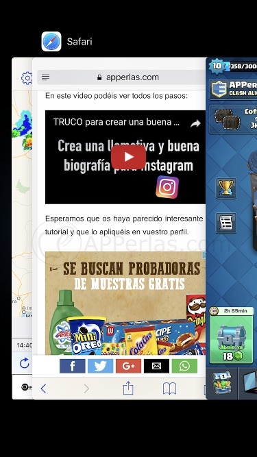 Apps en la multitarea iPhone