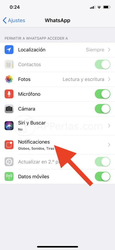 Ajustes de notificaciones de Whatsapp