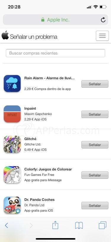 Busca la app que quieras devolver