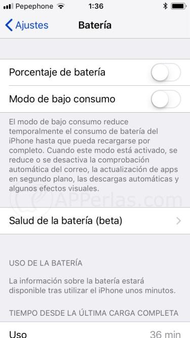 Activar porcentaje de la batería en iPhone