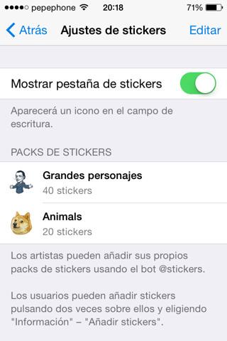 Ajustes de Stickers y edición de vídeo en TELEGRAM