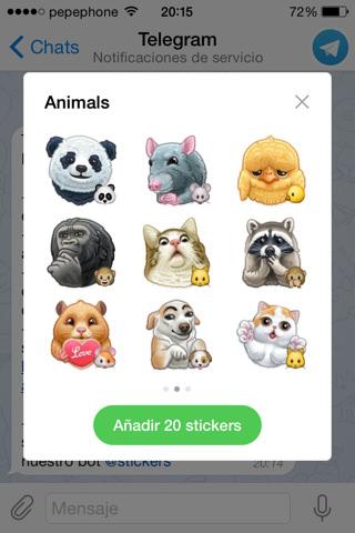 Nuevas stickers de animales y edición de vídeo en Telegram