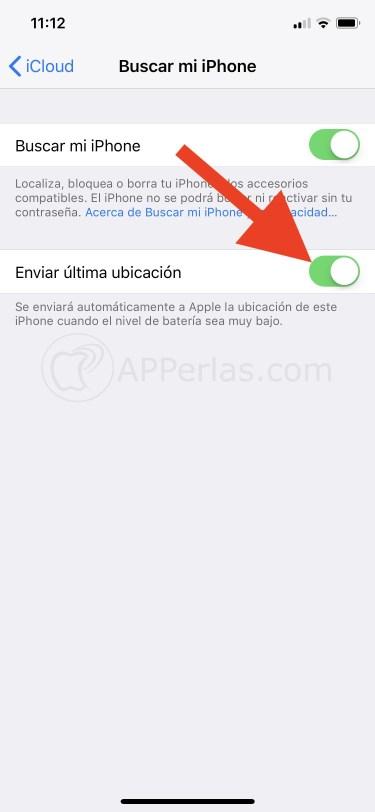 Activa el enviar la última ubicación del iPhone
