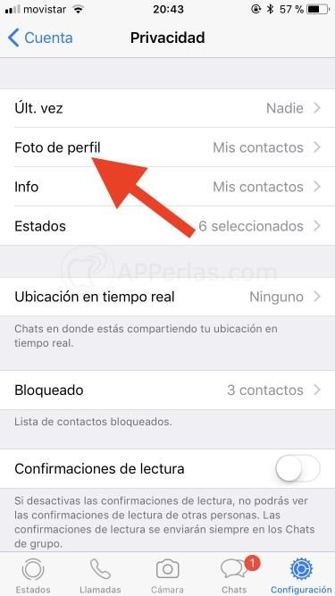 Opción foto de perfil de Whatsapp