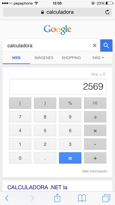 Funciones de google calculadora